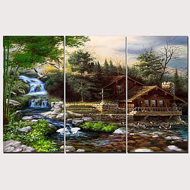 billige Trykk-Trykk Strukket Lerret Trykk - Landskap Tradisjonell Moderne Tre Paneler Kunsttrykk