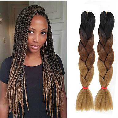 שיער קלוע ישר צמות ג'מבו שיער סינטטי 3 חלקים שיער צמות צבע טבעי 24 אִינְטשׁ Style 12 עמיד לחום סינטטי 100% שיער קנקלון לבוש ליום צמות אפריקאיות