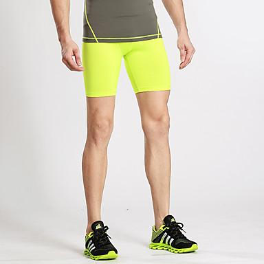 בגדי ריקוד גברים # שורט לריצה שורט צמוד לריצה ללא תיפורים מכנסיים קצרים נושם רך בקרת בטן צבע אחיד / סטרצ'י (נמתח)