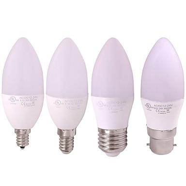 1pc 3 W נורות נר לד 240-270 lm E14 B22 E12 10 LED חרוזים SMD 2835 לבן חם לבן 12-24 V