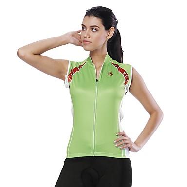 ILPALADINO בגדי ריקוד נשים ללא שרוולים חולצת ג'רסי לרכיבה ירוק צבע אחיד אופנייים ג'רזי צמרות עמידות UV רצועות מחזירי אור כיס אחורי ספורט 100% פוליאסטר רכיבת כביש ביגוד