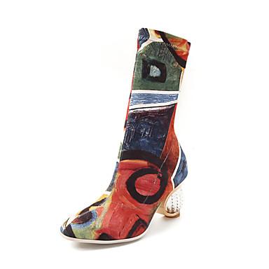 voordelige Dameslaarzen-Unisex Laarzen Partij Hakken Ronde Teen Elastische stof Kuitlaarzen Brits / minimalisme / Lucite Heel Lente zomer / Herfst winter Regenboog / Grijs / Feesten & Uitgaan / Kleurenblok / Fashion Boots