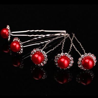 abordables Coiffes-Imitation de perle / Alliage Bâton de cheveux avec Détail Cristal 5 Pièces Mariage / Fête / Soirée Casque