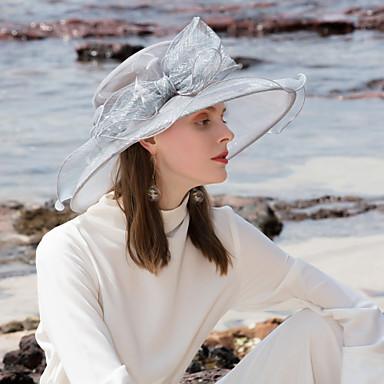 billige Hodeplagg til fest-Tyll / Fjær Kentucky Derby Hat / pannebånd / fascinators med Blomst 1pc Bryllup / Spesiell Leilighet / utendørs Hodeplagg