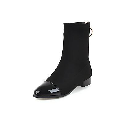 בגדי ריקוד נשים גרב מגפיים PU סתיו חורף וינטאג' / בריטי מגפיים עקב עבה בוהן עגולה מגפיים באורך אמצע - חצי שוק תחרה תפורה שחור / מסיבה וערב