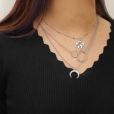 abordables Collier-Collier Multirang Femme simple Style Folk Argent 37-47 cm Colliers Tendance Bijoux 1pc pour Quotidien Demi-cercle