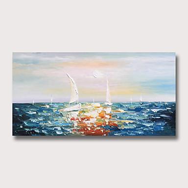ציור שמן צבוע-Hang מצויר ביד - מופשט L ו-scape מודרני ללא מסגרת פנימית