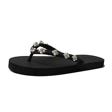 voordelige Damespantoffels & slippers-Dames Slippers & Flip-Flops Platte hak Polyester Zomer Beige / Geel / Roze