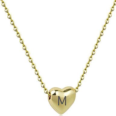povoljno Prilagođeni nakit-personalizirana Graviranog Ogrlica pomodan Romantični Casual / sportski Slatka Style Početno Nakit Tikovina Srce Dar Obećanje Festival Heart Shape 1pcs Zlato Pink / Lasersko graviranje