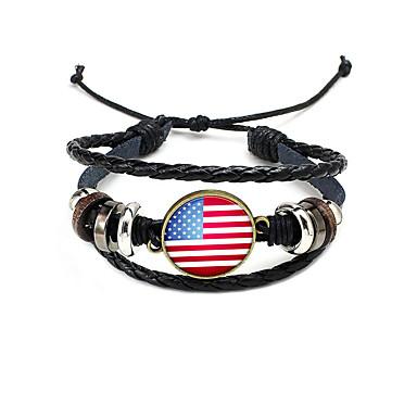 billige Motearmbånd-Dame Vevet Armband Flettet amerikansk flagg Flagg Patriotiske smykker Europeisk trendy Mote Lær Armbånd Smykker Svart Til Daglig Festival