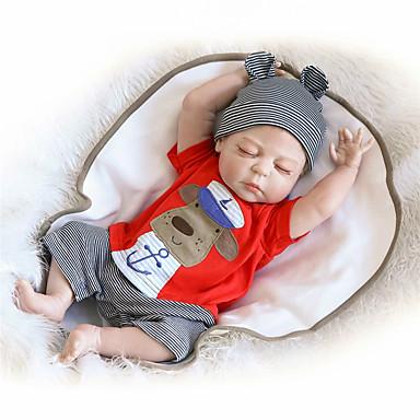 billige Reborn-dukker-NPK DOLL Reborn-dukker Baby Reborn Baby Doll 22 inch Fuld krops silicone Silikone Vinyl - livagtige Nuttet Håndlavet Børnesikker Nyt Design Ikke Giftig Børne Unisex / Pige Legetøj Gave / Smuk / CE
