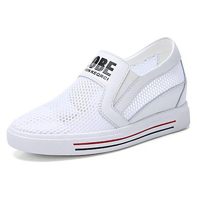 בגדי ריקוד נשים רשת / עור קיץ & אביב / קיץ יום יומי / מִעוּטָנוּת נעליים ללא שרוכים טיפוס / הליכה עקב סמוי בוהן עגולה לבן / סִיסמָה