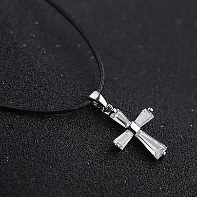 billige Halskjeder-Dame Kubisk Zirkonium Anheng Halskjede Kors Zirkonium Sølv 36 cm Halskjeder Smykker 1pc Til Bryllup Daglig