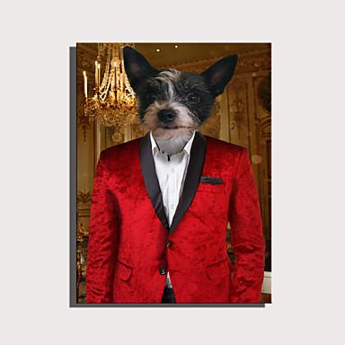 abordables Toiles-e-home toile tendue art série d'animaux mignons - décoration de chien gentleman rouge peinture un pcs
