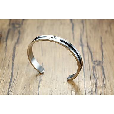 voordelige Herensieraden-Heren Dames Cuff armbanden meetkundig Kostbaar Statement Eenvoudig Uniek ontwerp modieus Elegant Titanium Staal Armband sieraden Zilver Voor Feest Lahja Dagelijks Carnaval Club