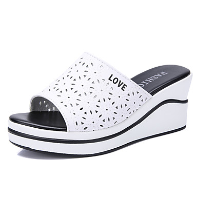 voordelige Damespantoffels & slippers-Dames Leer Lente & Herfst / Zomer Zoet / Studentikoos Slippers & Flip-Flops Wandelen Sleehak Open teen Wit / Zwart