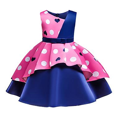 povoljno Novo u ponudi-Djeca Dijete koje je tek prohodalo Djevojčice Osnovni slatko Srce Mašna Kolaž Print Bez rukávů Do koljena Pamuk Haljina Blushing Pink