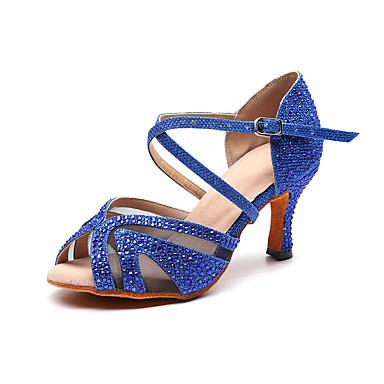 abordables Meilleures Ventes-Femme Chaussures de danse Matière synthétique Chaussures Latines Détail Cristal Talon Talon Bobine Personnalisables Argent / Rouge / Bleu / Utilisation / Entraînement