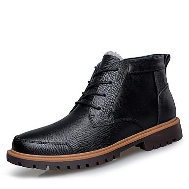 בגדי ריקוד גברים נעלי עור עור נאפה Leather סתיו חורף קלסי / יום יומי מגפיים הליכה שמור על חום הגוף מגפונים\מגף קרסול שחור