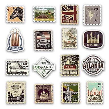 50pcs / set רטרו חותמת מדבקה לנסוע ההיסטורי בניין חותמת דואר מדבקות