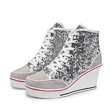 povoljno Ženske cipele-Žene Sneakers Na vezanje Wedge Heel Okrugli Toe Šljokice Eko koža Ležerne prilike / slatko Proljeće ljeto Crn / Pink / Pink