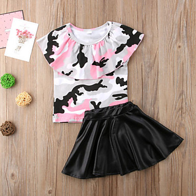 370e526a2 رخيصةأون ملابس الرضع-مجموعة ملابس كم قصير هندسي / طباعة للفتيات طفل