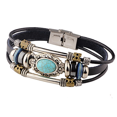 36df0b52790581 Men's Turquoise Leather Bracelet woven Personalized Vintage Leather  Bracelet Jewelry Black / Brown For Casual Stage
