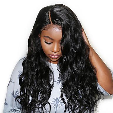 שיער אנושי חזית תחרה פאה חלק צד בסגנון שיער מלזי מתולתל שחור פאה 130% צפיפות שיער נשים בגדי ריקוד נשים קצר אחרים Clytie