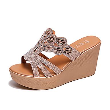 voordelige Damespantoffels & slippers-Dames Slippers & Flip-Flops Wedge Heels Sleehak Strass PU Informeel Zomer Zwart / Amandel