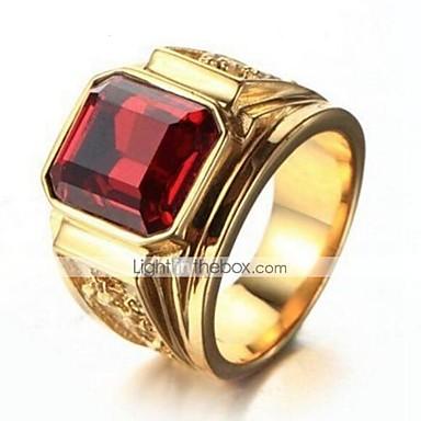 voordelige Heren Ring-Heren Vintagestijl Bandring Verguld Kostbaar Stijlvol Vintage Modieuze ringen Sieraden Zwart / Rood Voor Dagelijks Werk 9 / 10