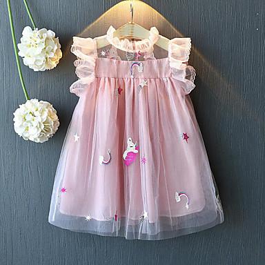 お買い得  女児 ドレス-子供 女の子 甘い ストリートファッション パッチワーク メッシュ パッチワーク 刺繍 ノースリーブ レーヨン ポリエステル ドレス ホワイト