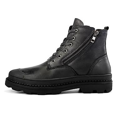 בגדי ריקוד גברים נעלי עור עור נאפה Leather חורף ספורטיבי / יום יומי מגפיים הליכה שמור על חום הגוף מגפונים\מגף קרסול שחור / חום