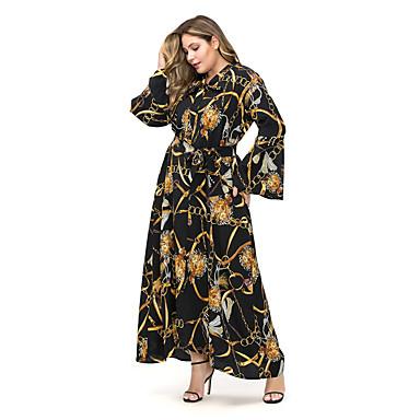 לבוש מסורתי ותרבותי שמלות בגדי ריקוד נשים לבוש יומיומי פוליאסטר דוגמא \ הדפס / אבנטים / סרטים שרוול ארוך שמלה