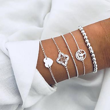 billige Motearmbånd-Dame Perler Hjerte livstreet Europeisk Mote Legering Armbånd Smykker Sølv Til Daglig Ferie