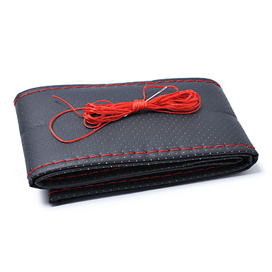 voordelige Auto-interieur accessoires-38 cm diameter handgemaakte microfiber lederen stuurhoes rood zwart cover