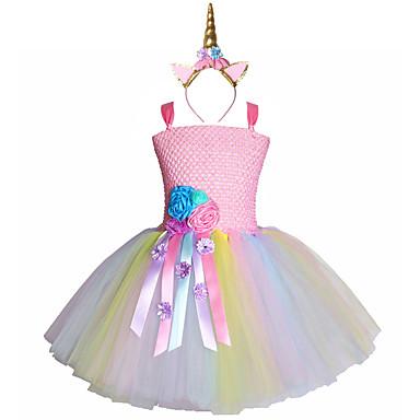 お買い得  女児 ドレス-パステル調の花ユニコーンチュチュドレス甘い女の子誕生日パーティー子供チュール王女空想ヘッドバンド