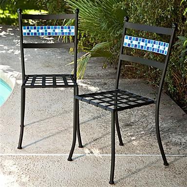 סט של 2 - שחור אבקת מתכת מצופה פטיו ביסטרו כיסאות עם משענת כחול אקווה
