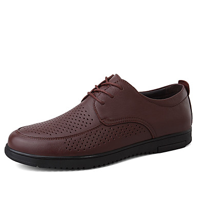 בגדי ריקוד גברים נעלי עור עור נאפה Leather קיץ קלסי / יום יומי נעלי אוקספורד הליכה נושם שחור / חום