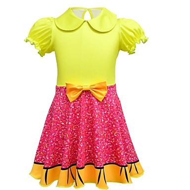お買い得  女児 ドレス-子供 幼児 女の子 活発的 ストリートファッション パッチワーク 半袖 膝上 ドレス ピンク