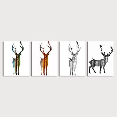 דפוס הדפסי בד מתוחים - חיות מודרני ארבעה פנלים הדפסים אמנותיים