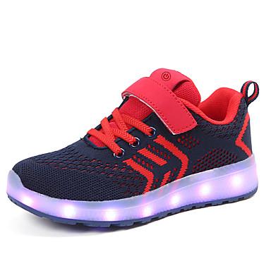 בנים / בנות נעליים זוהרות דמוי עור / Flyknit נעלי ספורט ילדים קטנים (4-7) / ילדים גדולים (7 שנים +) הליכה LED אדום / כחול / ורוד אביב / קיץ / גומי
