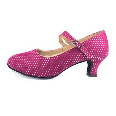 baratos Shall We® Sapatos de Dança-Mulheres Sapatos de Dança Camurça Sapatos de Dança Moderna / Dança de Salão Salto Salto Cubano Não Personalizável Preto / Fúcsia / EU42