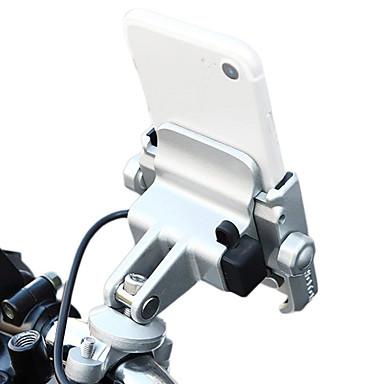 voordelige Auto-interieur accessoires-fiets motorfiets telefoon houder telefoon houder met 12-24v usb oplaadbare metalen aluminium stuurhouder 360 verstelbaar