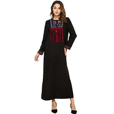 לבוש מסורתי ותרבותי שמלות בגדי ריקוד נשים לבוש יומיומי פוליאסטר פרנזים שרוול ארוך שמלה