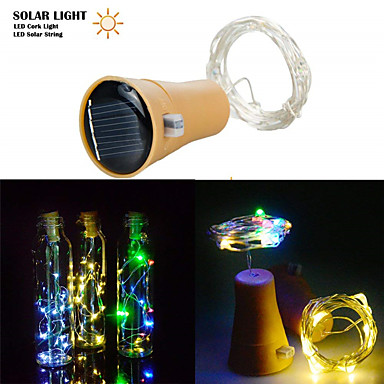 cheap Pre Sale-1pcs 2M 20LED Solar Powered Wine Bottle Cork Shaped LED Copper Wire String Outdoor Light Garland Lights Festival Outdoor Fairy Light