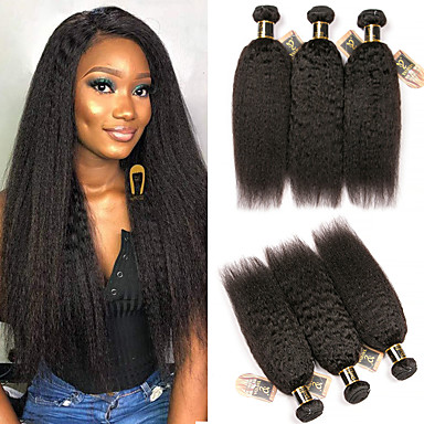 6 צרורות שיער ברזיאלי Kinky Straight 100% רמי שיער לארוג חבילות טווה שיער אדם שיער Bundle פתרון חפיסה אחת 8-28 אִינְטשׁ צבע טבעי שוזרת שיער אנושי מבריק קלאסי עבה תוספות שיער אדם