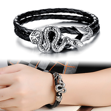voordelige Herensieraden-Heren Lederen armbanden loom Bracelet Touw Slang Schedel Statement Punk modieus Rock Gothic Titanium Staal Armband sieraden Zilver Voor Feest Lahja Dagelijks Carnaval Club