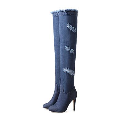 voordelige Dameslaarzen-Dames Laarzen Naaldhak Ronde Teen Denim Over de knie laarzen Vintage / Brits Herfst winter Blauw / Feesten & Uitgaan