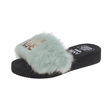 voordelige Damespantoffels & slippers-Dames Slippers & Flip-Flops Sleehak Imitatiebont Zomer Zwart / Beige / Groen