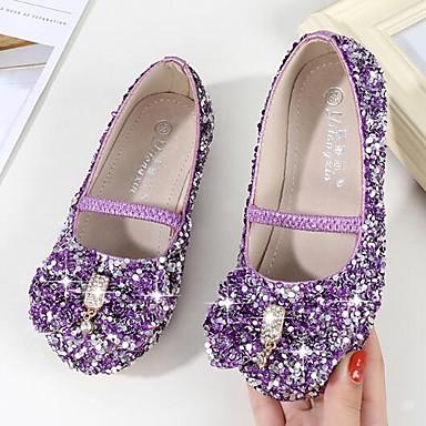 hesapli Kız Çocuk Ayakkabıları-Genç Kız Sentetikler Düz Ayakkabılar Küçük Çocuklar (4-7ys) / Büyük Çocuklar (7 yaş +) Çiçekçi Kız Ayakkabıları Kristal / Fiyonk Mor / Mavi / Pembe Bahar / Sonbahar